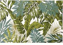 White Outdoor Rug with Green Foliage Print 140x200