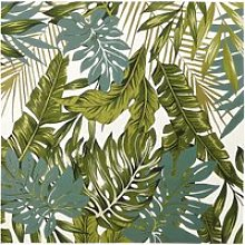 White Outdoor Rug with Green Foliage Print 200x200