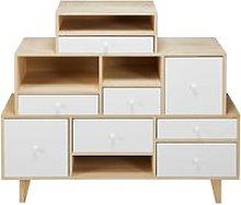 White paulownia 8-drawer destructured cabinet