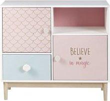 White, Pink and Blue 1-Drawer 2-Door Storage