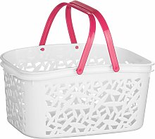 White Plastic Storage Basket / Made Using