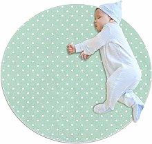 White Polka Dots On Mint Green Background Round