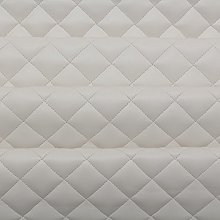 White Quilted Leather Diamond Stitch Padded