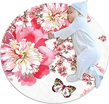 White red watercolor butterfly, Round Area Rug