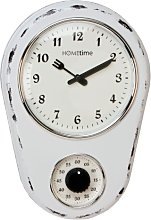 White Retro Kitchen Wall Clock With Timer