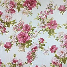 White Rose Garden Cotton Rich Linen Look Fabric