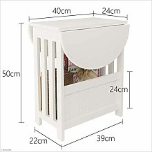 White - Rotating Sofa Cabinet Side Small Coffee