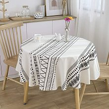 White Round Tablecloth Heavy Fabric Waterproof