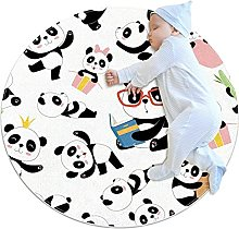 White serious panda, Round Area Rug Pattern Round