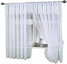 White Sheer Crushed Voile Window Curtain Set