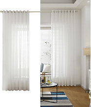 White Sheer Voile Window Curtain with Ring Top for