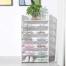 White Shoe Rack, Modern Carved 7 Tiers Shoe