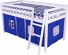 White Shorty Cabin Bed Blue Tent Boys Junior Mid