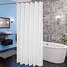 White Shower Curtain With 12pcs Hooks,Waterproof