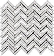 White & Silver Herringbone Mosaic Tiles Sheet for