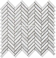 White & Silver Herringbone Mosaic Tiles Sheet for