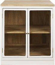 White Solid Mango Wood Kitchen Base Unit with 2