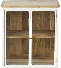 White Solid Mango Wood Upper Kitchen Unit with 2