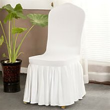 White Spandex Chair Cover Ruffled Pleated Skirt