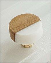 White Stone Kitchen Cabinet Knob Wooden Drawer