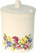 White Sweet Pea Design Ceramic Compost Caddy -