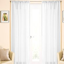 White Voile Curtain Panel, Linen Look Lace