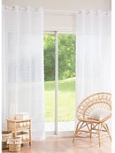 White Voile Eyelet Curtain with Tassels 140 x 250