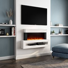 White Wall Mounted Electric Fireplace Suite with