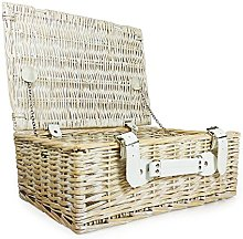 White Wash Shabby Chic Style Wicker Storage Basket
