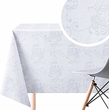 White With Grey Floral Baroque Damask PVC Wipe