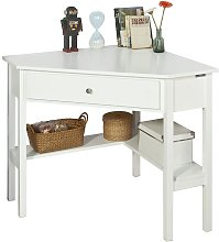 White Wood Triangle Computer Corner Table with