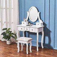White Wood Vanity Dressing Table Set Makeup Desk