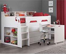 White Wooden Kids Bed, Happy Beds Jupiter Mid
