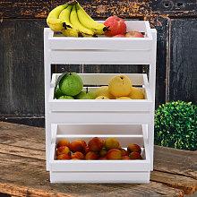 White Wooden Vegetable Fruit Rack Kitchen Storage
