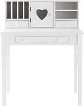 White Writing 1-Door 3-Drawer Desk