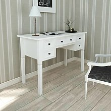 White Writing Desk with 5 Drawers VDTD08783