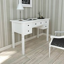 White Writing Desk with 5 Drawers - White