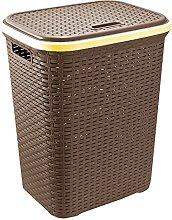 Whitefurze Plastic Laundry Hamper Basket (Rattan -