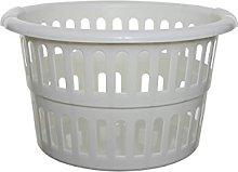 Whitefurze Round Laundry Basket, Plastic, Cream,