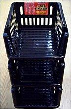 Whitefurze Stacking Basket Set of 3, Black, 18 cm