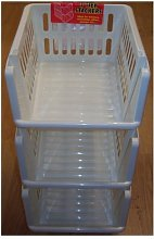Whitefurze Stacking Basket Set of 3, Cream, 18 cm