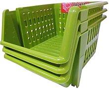 Whitefurze Stacking Basket Set of 3, Leaf Green,