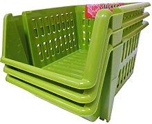 Whitefurze Stacking Basket Set of 3, Plastic, Leaf