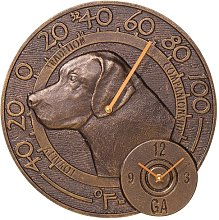 Whitehall Products Labrador Thermometer Clock,