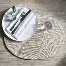 Whitewashed Oval Rattan Placemat , White, One Size