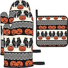 Who Goes There Black Orange Oven Mitts and Pot