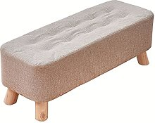 WHOJA Upholstered Footstool Ottoman Fabric Bench