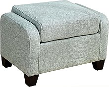 WHOJA Upholstered Footstool Ottoman Solid wood