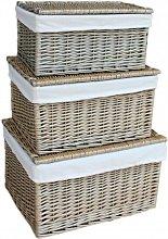 Wicker 3 Piece Basket Set August Grove Colour: