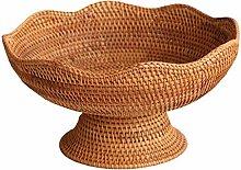 Wicker Basket With Handle Wood Rattan Fruit Bread
